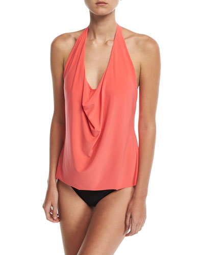 Sophie Solid Cowl-Neck Tankini Swim Top, Plus Size and Matching Items