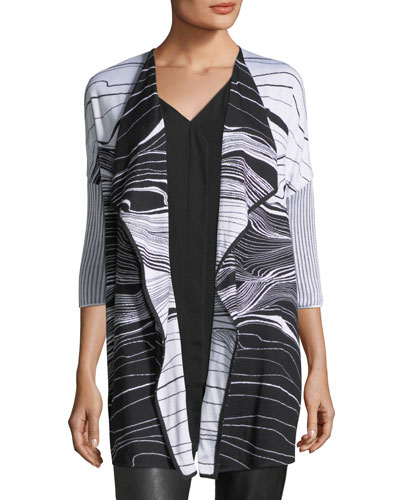 St. John Collection Brush Stroke Jacquard Cardigan