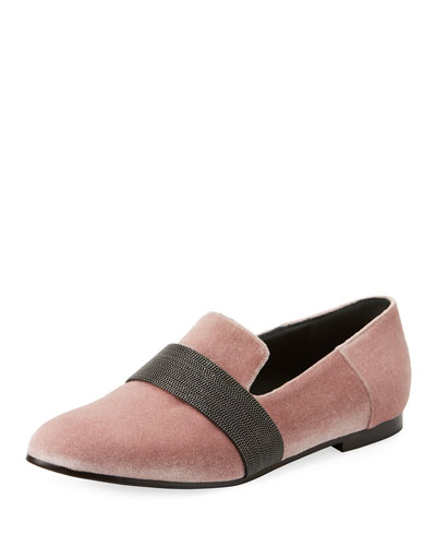 Brunello Cucinelli Velvet Loafer with Monili Keeper Strap