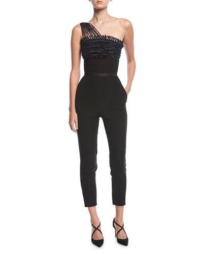 Emporio Armani One-Shoulder Skinny-Leg Crepe Jumpsuit