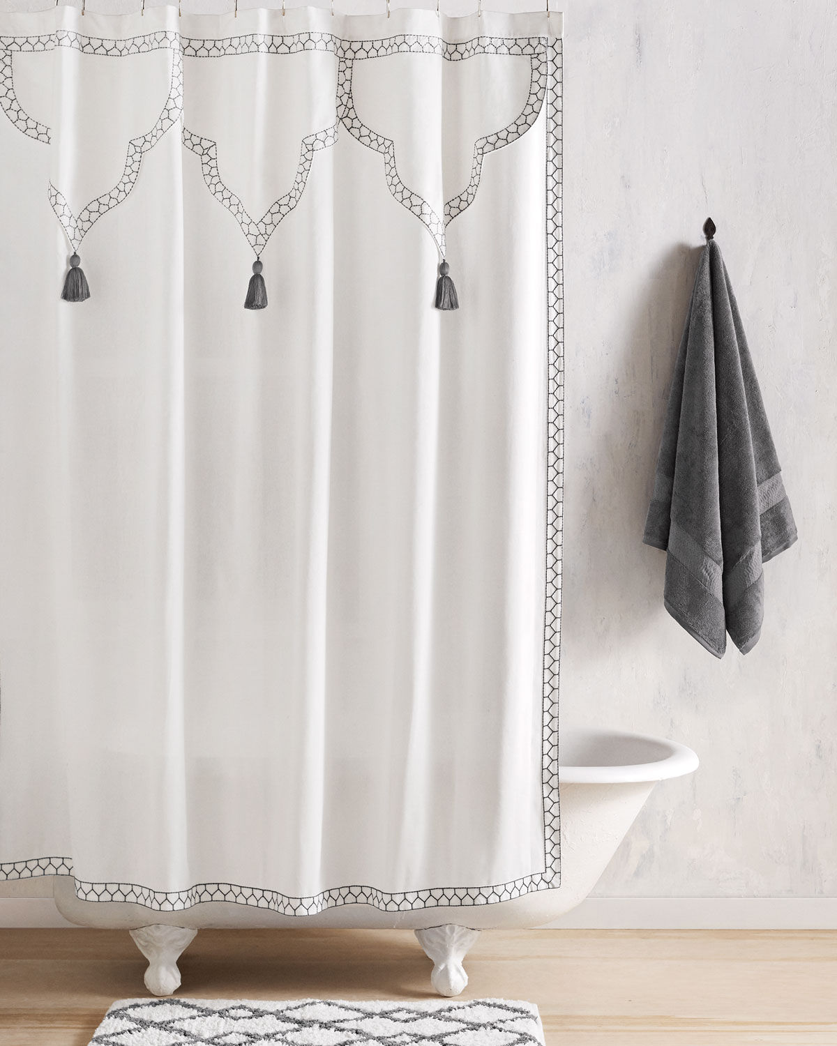 White Cotton Shower Curtain Neiman Marcus