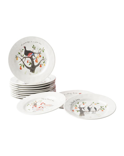 Juliska Twelve Days of Christmas Cocktail Plate Set, Set of 12