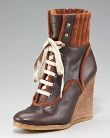Chloe Lace-Up Wedge Bootie