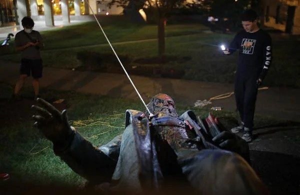 George Floyd murder: Washington DC protesters pull down, burn statue of Confederate general