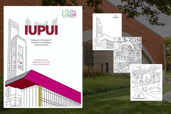 the cover of the color your campus book with three pages next to the book