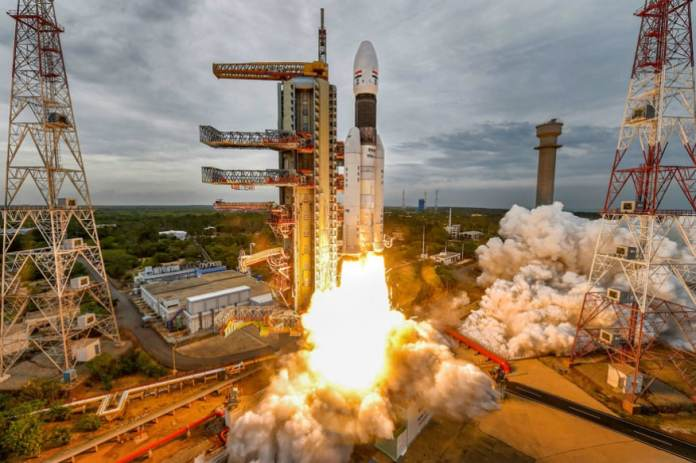 File photo of India's second Moon mission Chandrayaan-2 lifting off onboard GSLV Mk III-M1 launch vehicle from Satish Dhawan Space Center at Sriharikota in Andhra Pradesh.