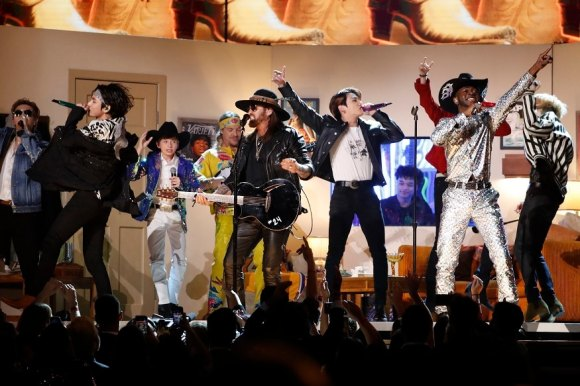 62nd Grammy Awards - Show - Los Angeles, California, U.S., January 26, 2020 - Lil' Nas X and Billy Rae Cyrus perform with South Korea's BTS. (Pic Source: Reuters)