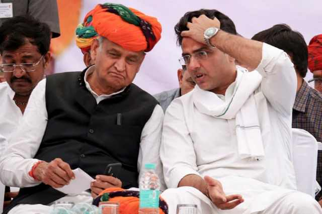 File photo of Rajasthan CM Ashok Gehlot with his former deputy Sachin Pilot.