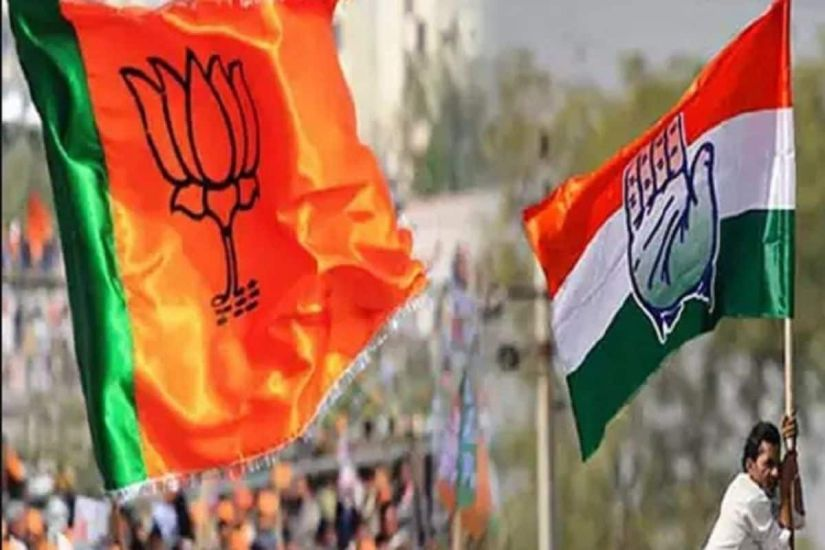 File photo of BJP and Congress flags.