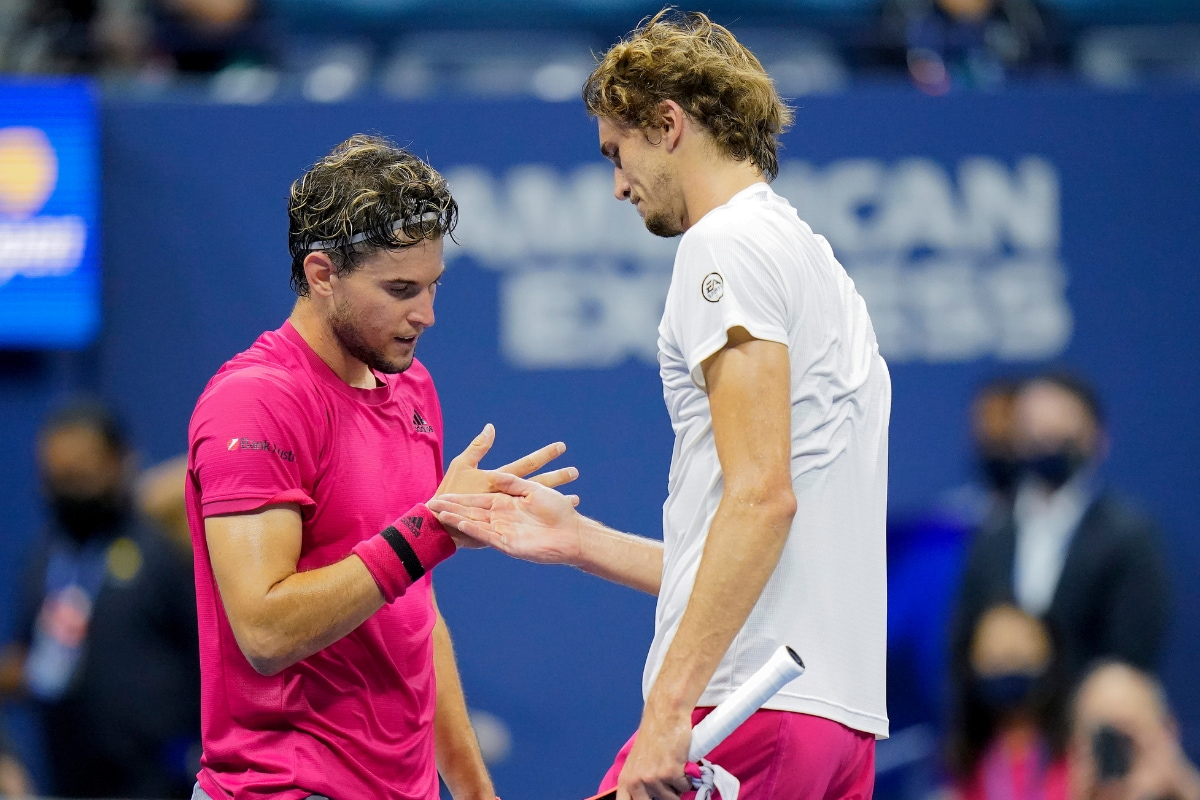 Dominic Thiem and Alexander Zverev shared a unique handshake after the former won the US Open. (Photo Credit: AP)