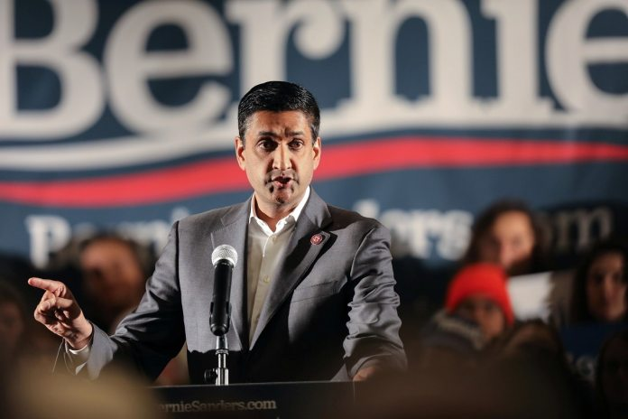 Democratic U.S. Rep. Ro Khanna speaks at a climate rally in Iowa. (Reuters)