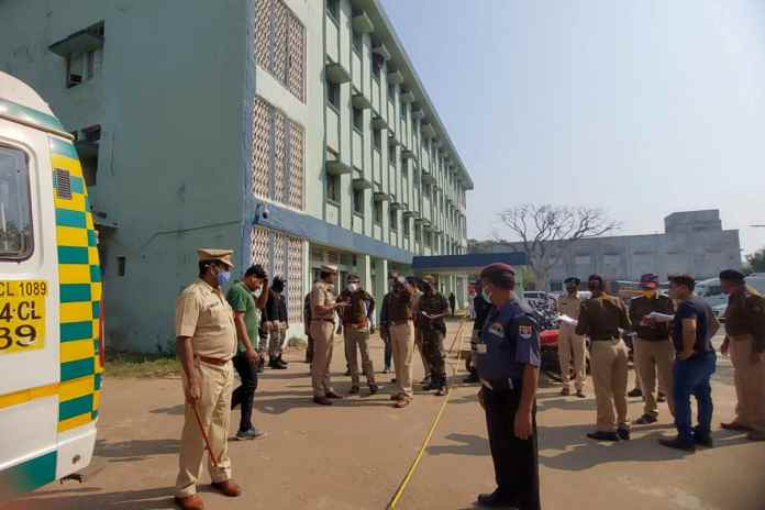 Police officers investigate the scene after a fire broke out at District General Hospital in Bhandara, about 70 km from Nagpur, on January 9, 2021. (AP Photo)