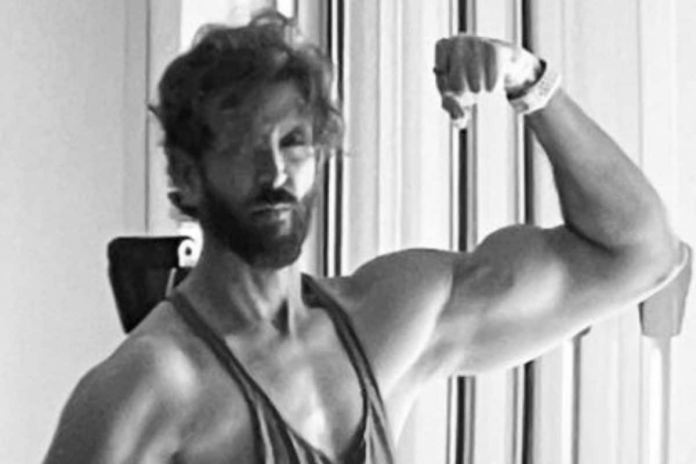 Bollywood actor Hrithik Roshan posted a monochrome picture of himself on Instagram where he flaunted his biceps.