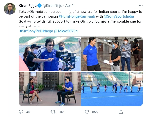 Kiren Rijiju Joins Hands with Sony Pictures Sports Network to Support Team India at Olympics Games