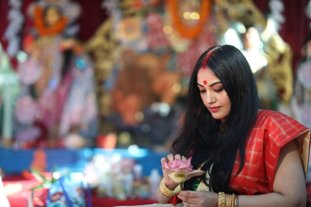 Preparations for Sandhipujo are like that every time.  108 blue lotuses were given to the goddess.
