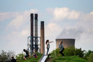 Children and a power plant