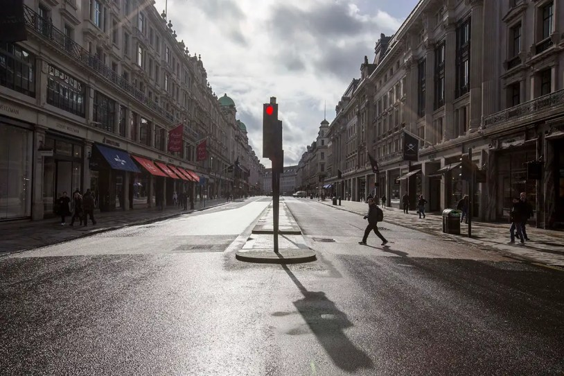 care of elderly - Regent Street in London without people