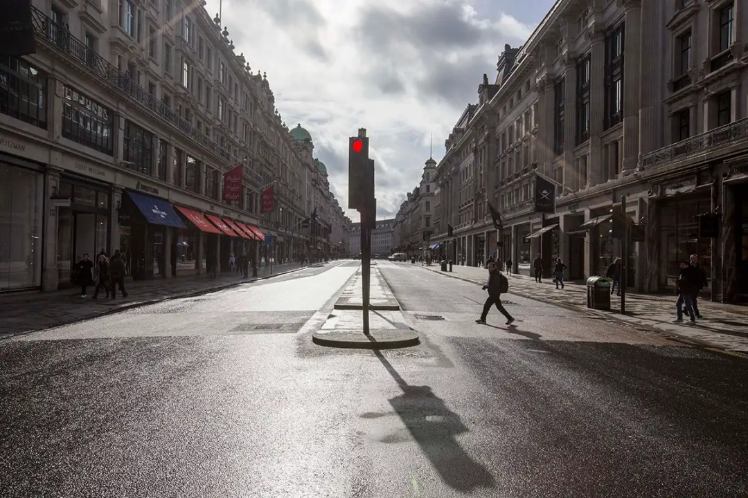 Regent Street in London without people