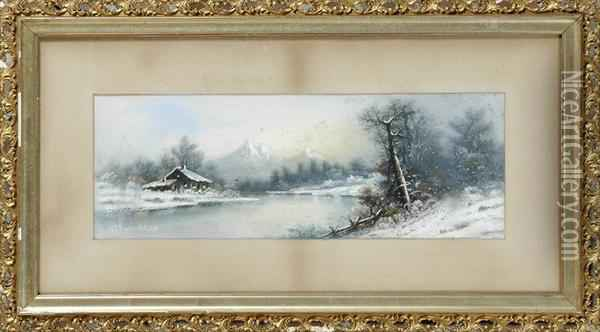 Winter Landscape With Cottage Oil Painting Reproduction By