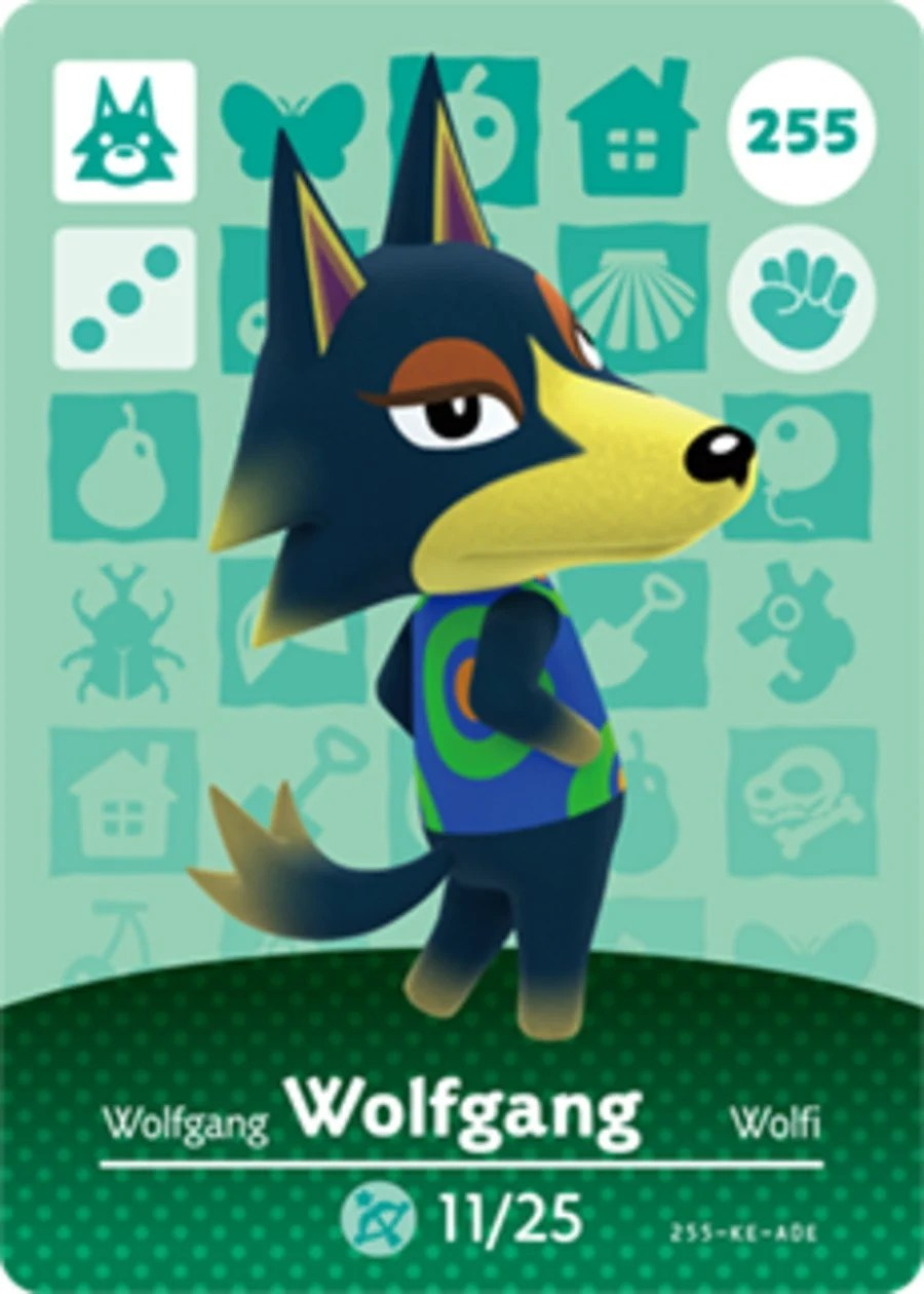 Wolfgang Animal Crossing Amiibo Card