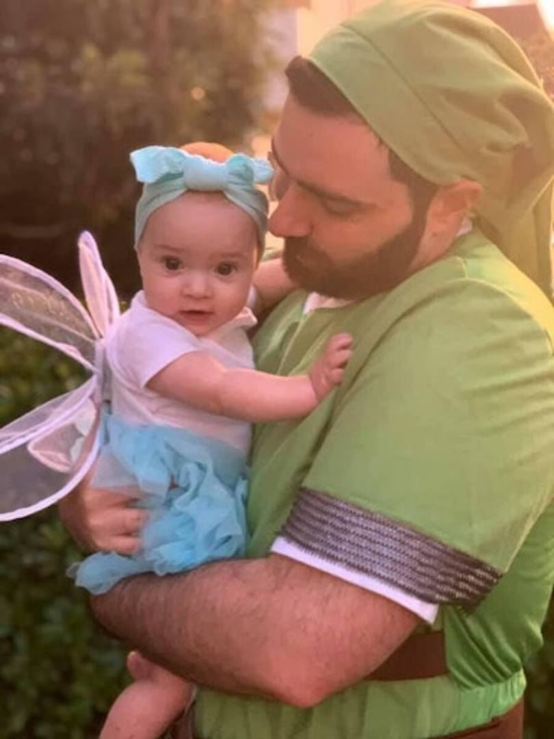 Chris Musto with his daughter dressed as Link and Navi for Halloween