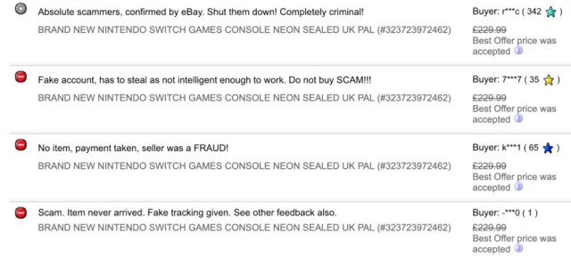 A screenshot of recent feedback given to eBay seller, gtrade2015