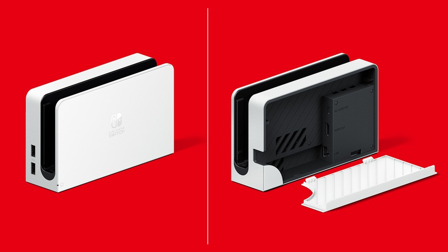 You'll be able to play Switch OLED in a standard dock, or the current Switch in the new LAN dock, which looks rather nice for a lump of plastic, no?