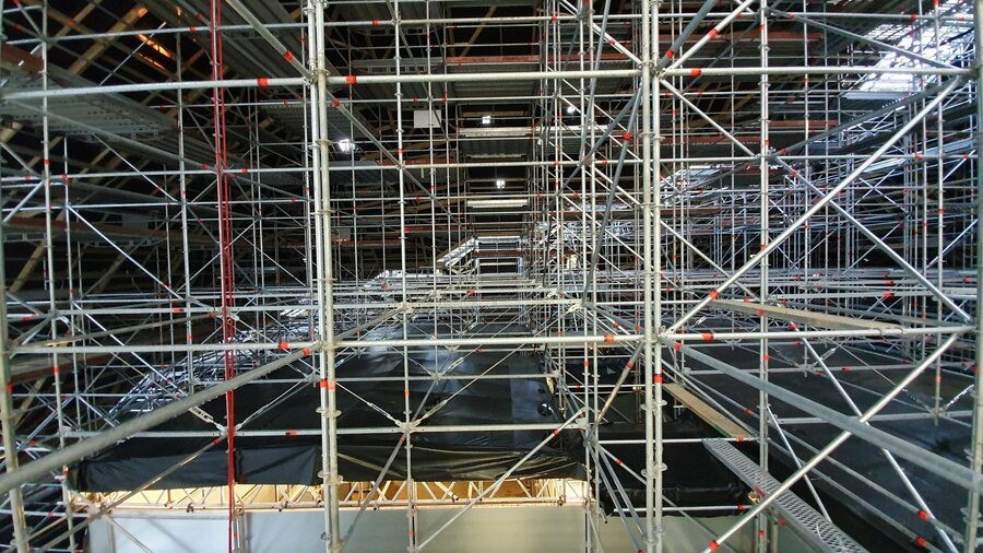 Scaffolding inside Marble Arch hill