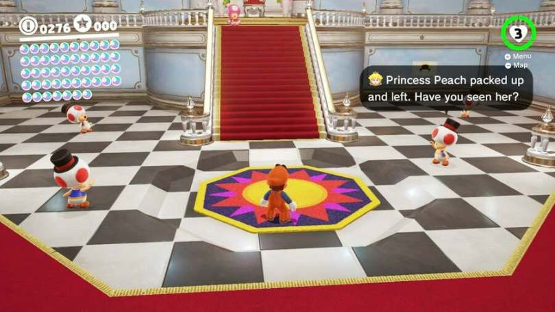 Peach's Castle in Super Mario Odyssey - you'd think Mario had learned not to look at the sun by now