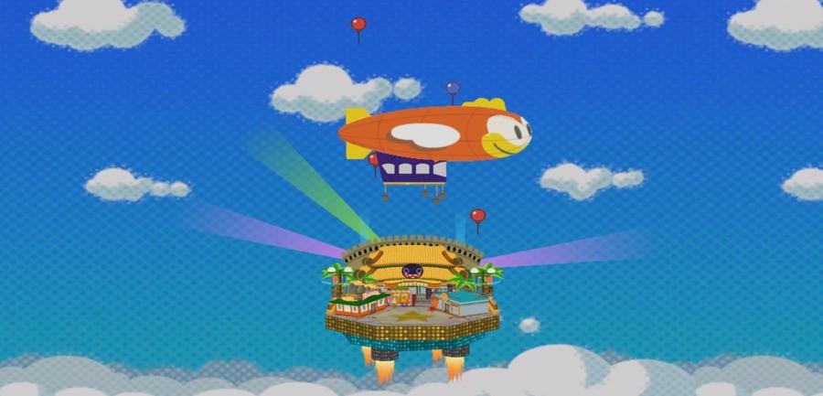 Paper Mario flies into Glitzville by blimp