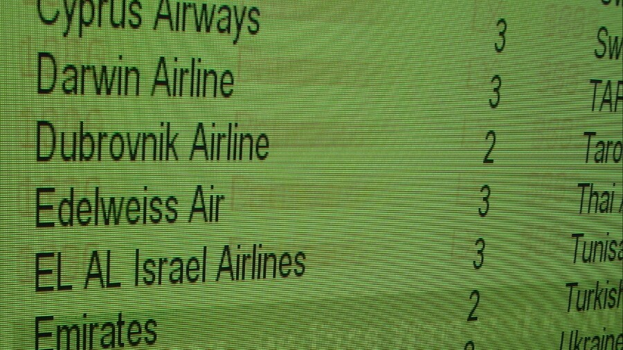 An example of burn-in on an airport screen (airports are a great place to see it)