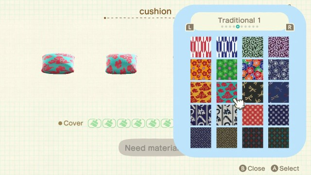 Customising furniture with patterns from Sable in Animal Crossing: New Horizons