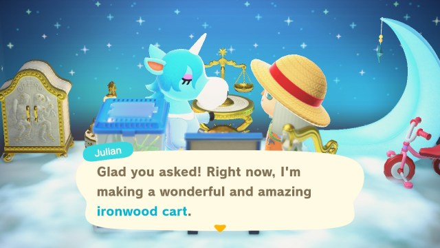 Receiving DIY crafting recipe from Julian in Animal Crossing: New Horizons