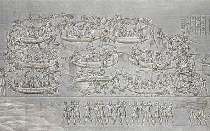 Soldaten van farao Ramses III richten een slachting aan onder de Zeevolken die de Egyptische delta zijn binnengevaren. Grafmonument te Medinet Haboe.