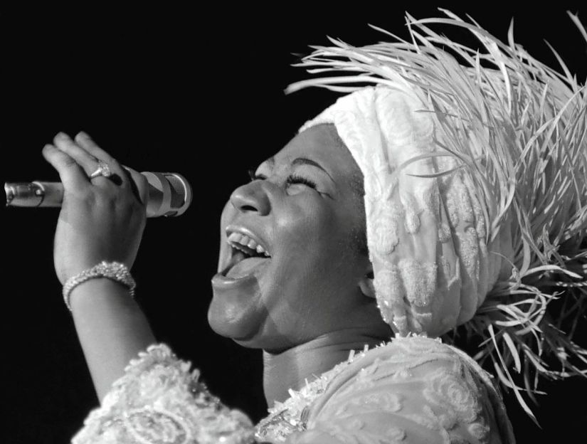 Aretha Franklin tijdens een concert in Ceasars Palace in Las Vegas in 1969.