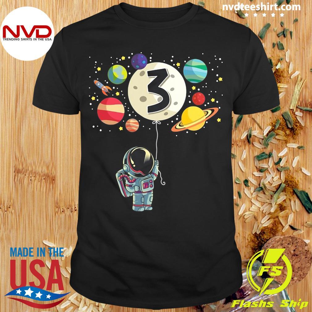 Official 3 Years Old Birthday Boy Gifts Astronaut 3rd Birthday T Shirt Nvdteeshirt