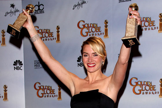 Image result for kate winslet 2 golden globes