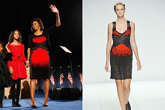 Michelle last night at Barack's victory speech and the dress on the spring 2009 runway.