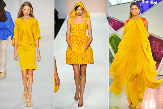 From left, Mimosa spring 2009 offerings by Ossie Clarke, Paul Costelloe, and Nathan Jenden.