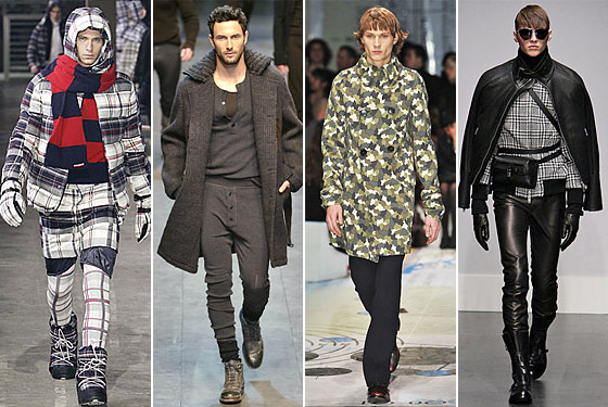 From left: Gamme Bleu, Dolce & Gabbana, Prada, and Gianfranco Ferré (is this model giving anyone else a serious Brüno vibe?).