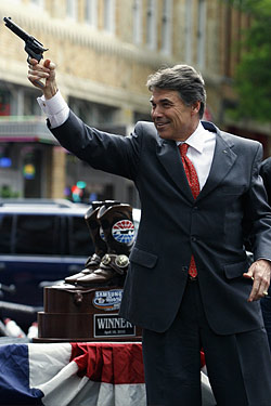 Rick Perry with a handgun