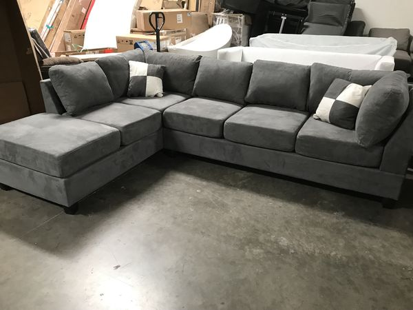 glory grey suede sectional for sale in