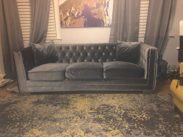 Beautiful Metallic Gray Tufted And Studded Sofa For Sale
