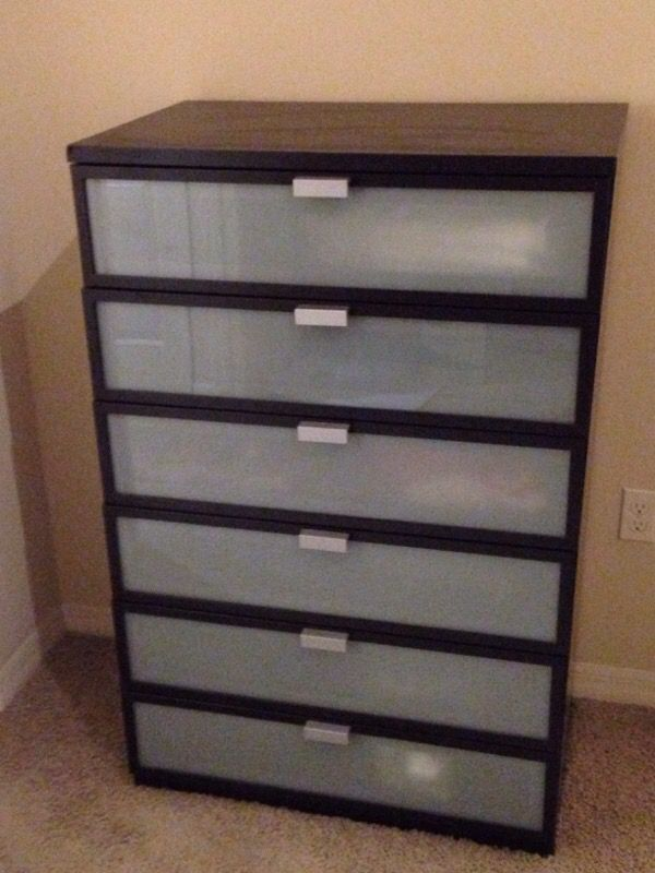 Ikea Hopen 6 Drawers Chest Black Brown Frosted Glass For