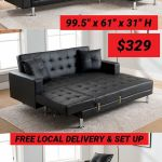 Sectional Sofa Bed Black Bonded Leather 329 Free Local Delivery Set Up For Sale In San Bernardino Ca Offerup