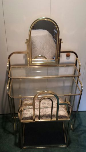 vintage vanity makeup table w mirror matching bench for sale in cheney
