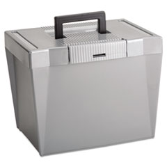 Pendaflex 20862: Portable File Storage Box, Letter, Plastic, 13 1/2 x 10 1/4 x 10 7/8, Steel Gray