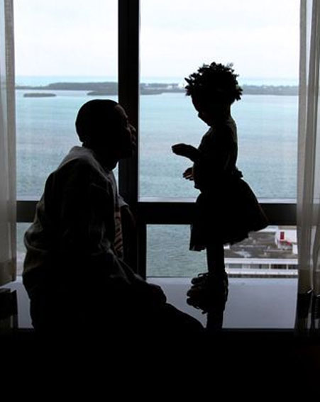 Beyonce's husband Jay-Z looks up lovingly at daughter Blue Ivy [Beyonce/Tumblr]