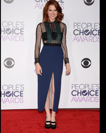 Sarah Drew looks sophisticated in a sheer gown [Getty]