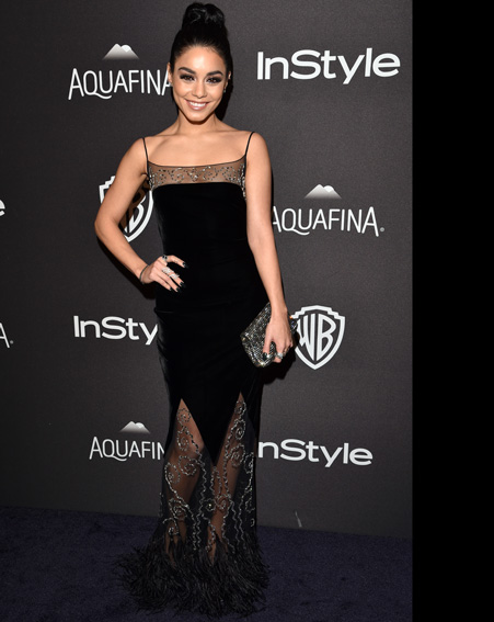 Vanessa Hudgens is dressed up for the Golden Globes after-party [Getty]